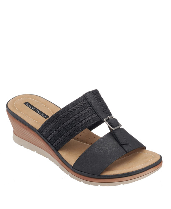 Erin Wedge Sandal in Black