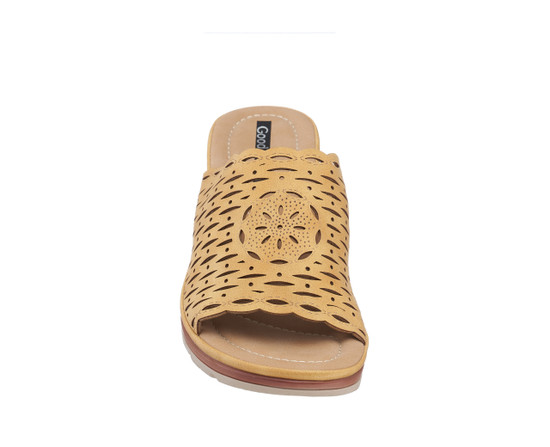 Maddy Wedge Sandal in Camel