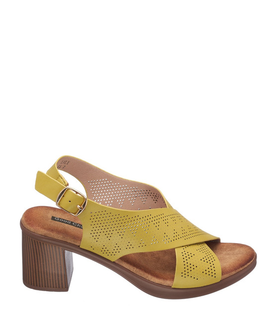 Lala Heeled Sandal in Yellow