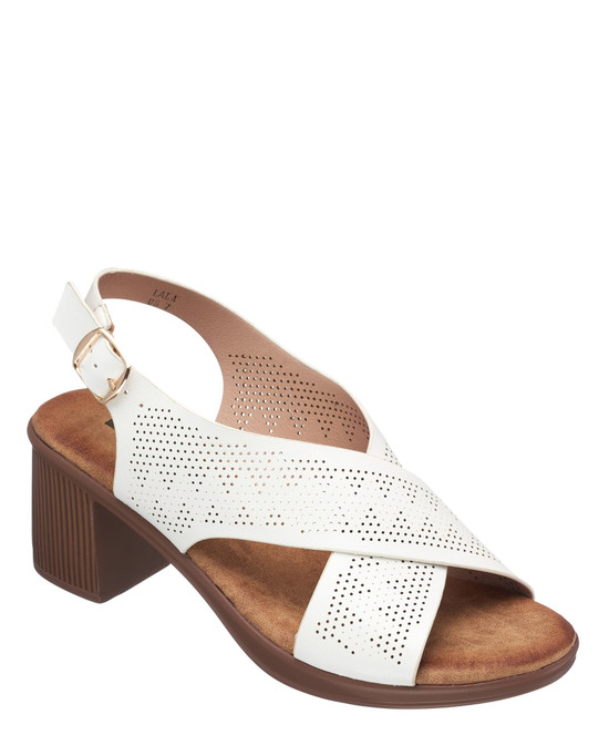 Lala Heeled Sandal in White