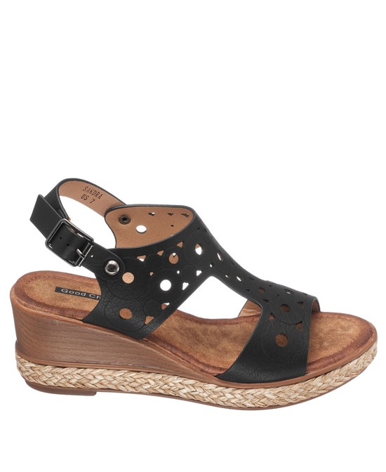 Sandra Wedge Sandal in Black
