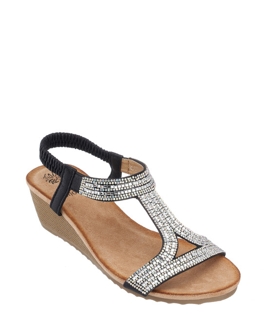Coretta Wedge Sandal in Black