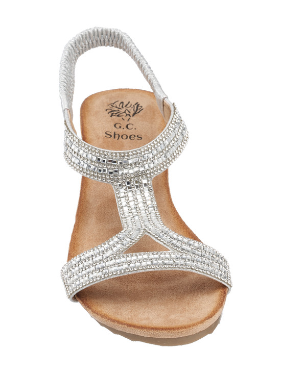 Coretta Wedge Sandal in Silver