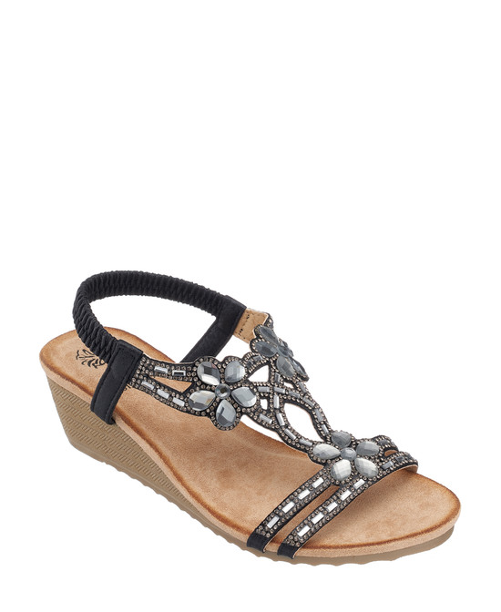 Leal Wedge Sandal in Black
