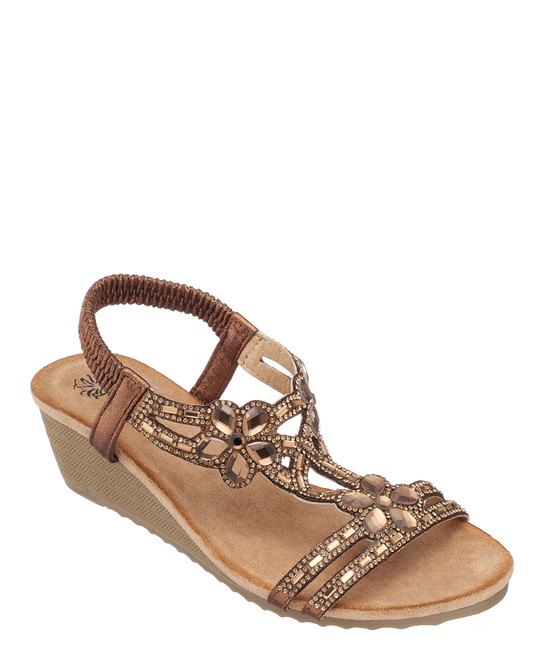 Leal Wedge Sandal in Bronze