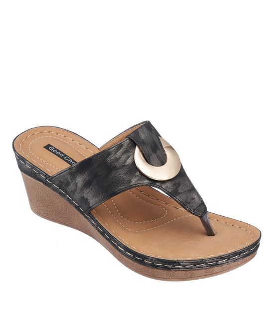 Genelle Wedge Sandal in Black