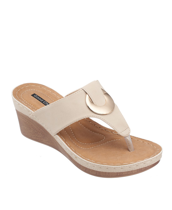 Genelle Wedge Sandal in Natural