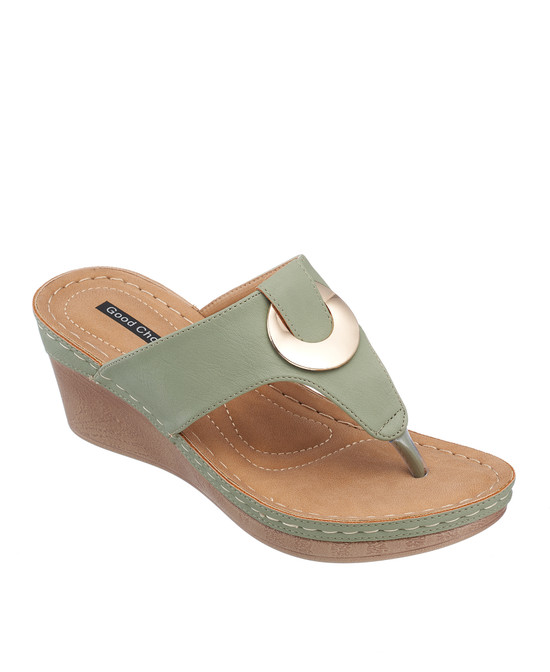 Genelle Wedge Sandal in Green
