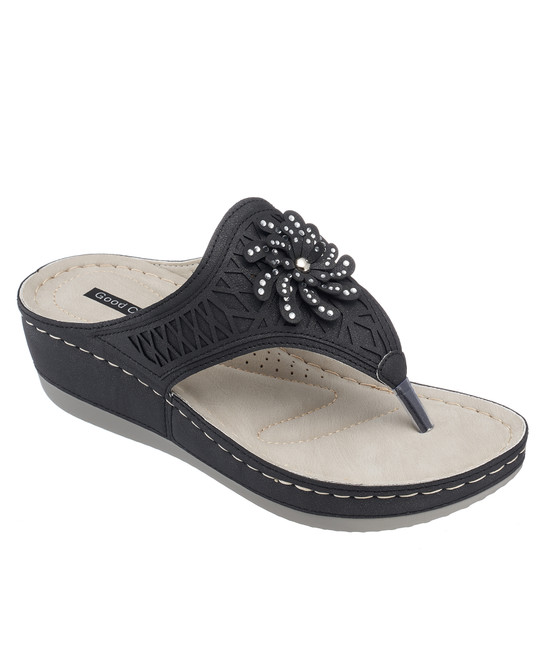 Allie Low Wedge Sandal in Black