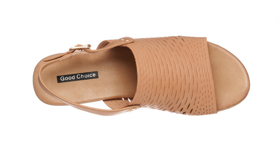 Melody Heeled Sandal in Camel