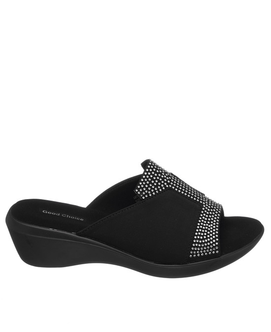 Capella Wedge Sandal in Black