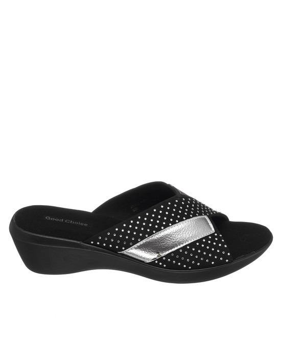 Damita Low Wedge Sandal in Black