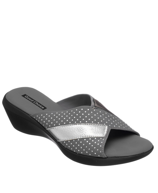 Damita Low Wedge Sandal in Grey
