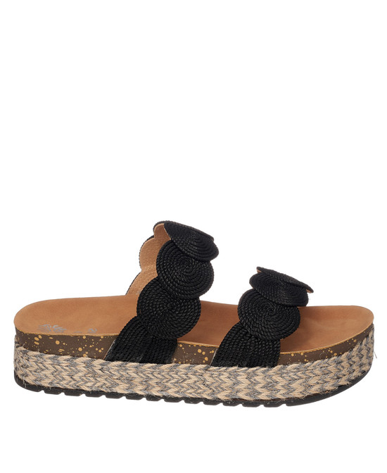 Julian Flat Sandal in Black