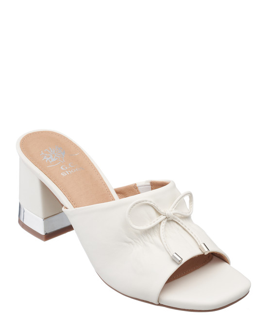 Addison Heeled Sandal in White