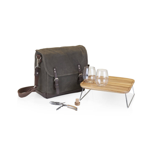Adventure Wine Tote - Khaki/Brown by Picnic Time