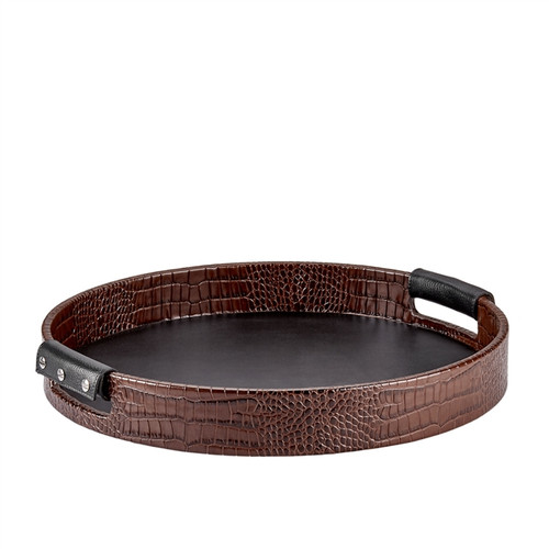 Round Leather Tray Brown Crocodile Embossed Leather