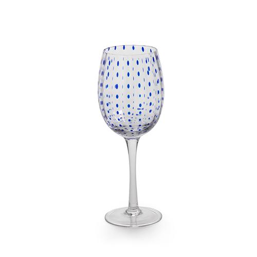Blue Dots Wine Glass by Zodax