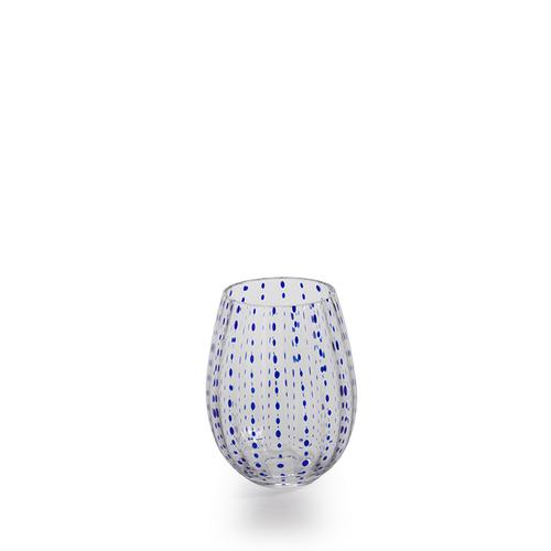 Blue Dots Stemless Glass by Zodax