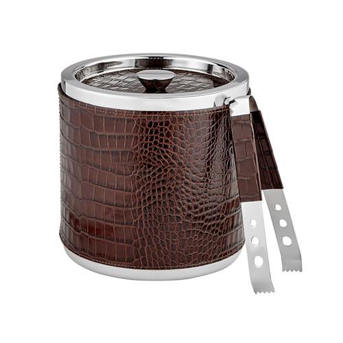 Leather Ice Bucket with Tongs    Brown Crocodile