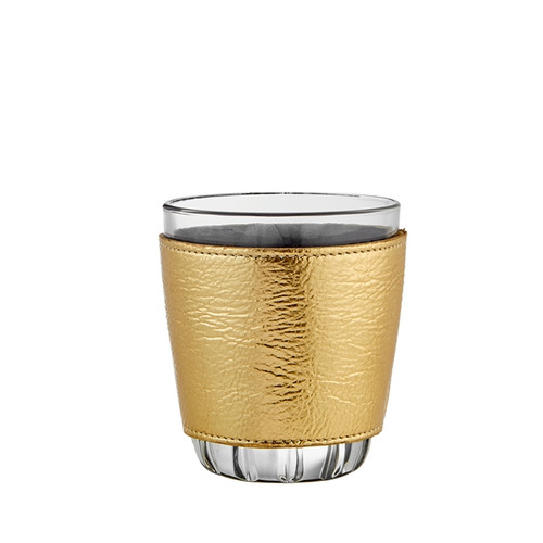 Leather Wrapped Glass Set   Gold Metallic Goatskin