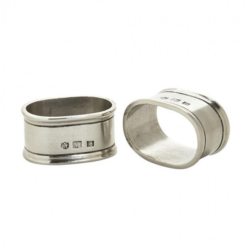 Match Pewter Oval Napkin Rings, Pair