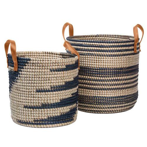 Olinda Natural Seagrass Nesting Baskets (Set/2)   Blue