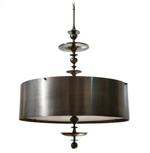 Global Views Turned Pendant Chandelier, Antique Bronze, Small