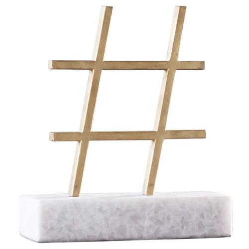 Hashtag Gold Decorative Object