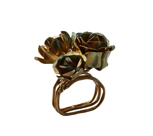 Bouquet Napkin Rings S/4   Gold