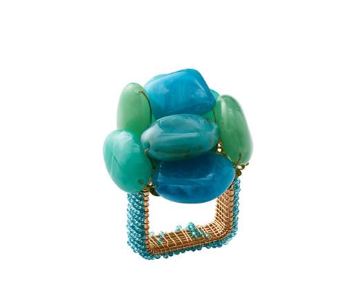 Sea Stone Napkin Rings S/4   Seafoam