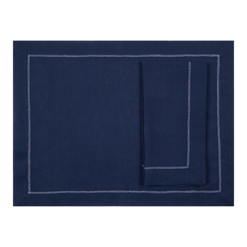 Navy Linen Placemat with Ivory Contrast Hemstitch