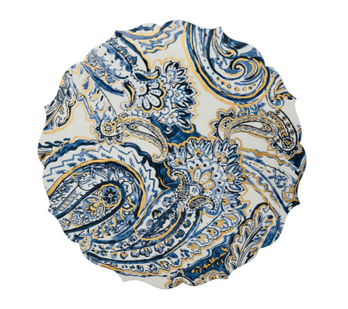Paisley Placemat in White, Navy and Gold S/4