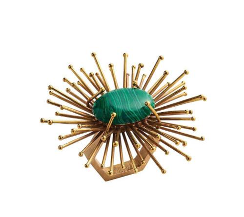 Flare Napkin Ring S/4   Gold+Emerald