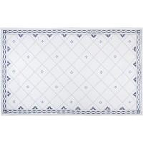 Anfa Blue and White Linen Rectangular Tablecloth