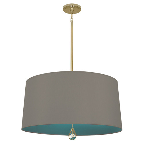 Carter Gray Fabric Shade With Mayo Teal Lining