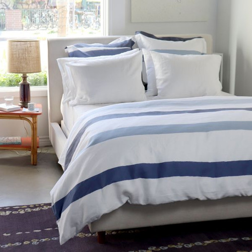 Cinta Blue White Stripe Linen Bedding
