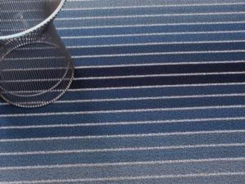 Block Stripe Shag  Indoor/Outdoor Mat   Denim