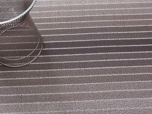 Block Stripe Shag Indoor/Outdoor Mat   Taupe