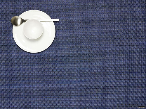 Mini Basketweave Placemat Rectangle Indigo by Chilewich
