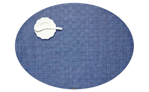 Bay Weave Oval Placemat - Blue Jean