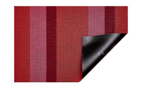 Bold Stripe Shag Indoor/Outdoor Mat in Punch