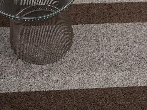 Bold Stripe Shag  Indoor/Outdoor Mat   Silver/Black