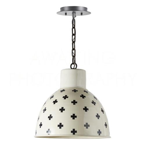 Cream Top Graphite Bell Pendant