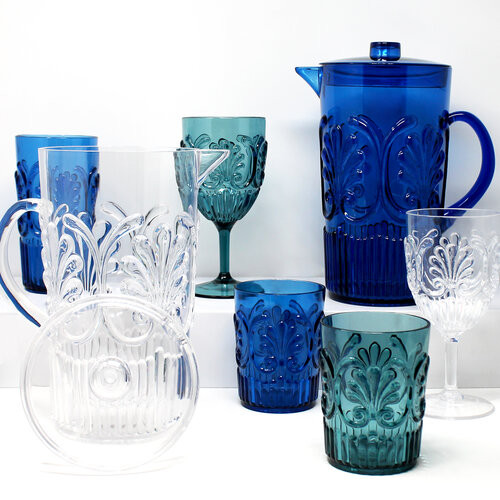 Our Fleur Collection with Its decorative design brings a touch of luxury to everyday use.   Crafted in the highest quality Polycarbonate, our glassware resists scratches and does not become cloudy over time. Colors and designs that pair back beautifully with all of our melamine dinnerware collections.