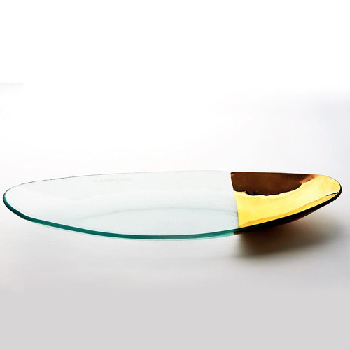 Annieglass Mod Oval Stacking Server - Gold
