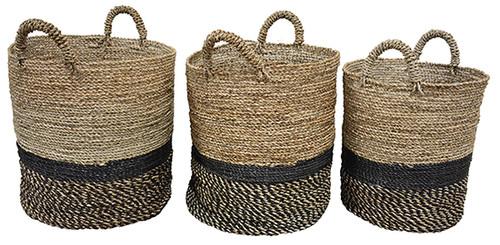 Set of 3 Baskets   Natural + Navy