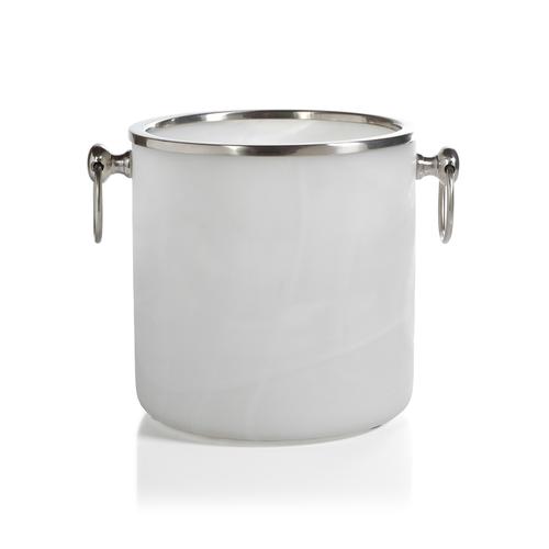 Alabaster Glass Ice Bucket with Matte Nickel Trim by Zodax