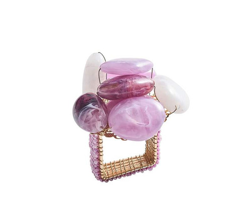 Sea Stone Napkin Ring in Lilac, Set of 4
