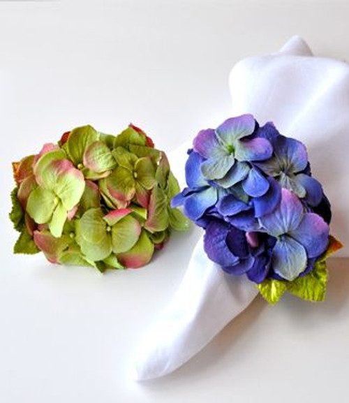 Deborah Rhodes Summer Hydrangea Napkin Rings S/6 | Blue